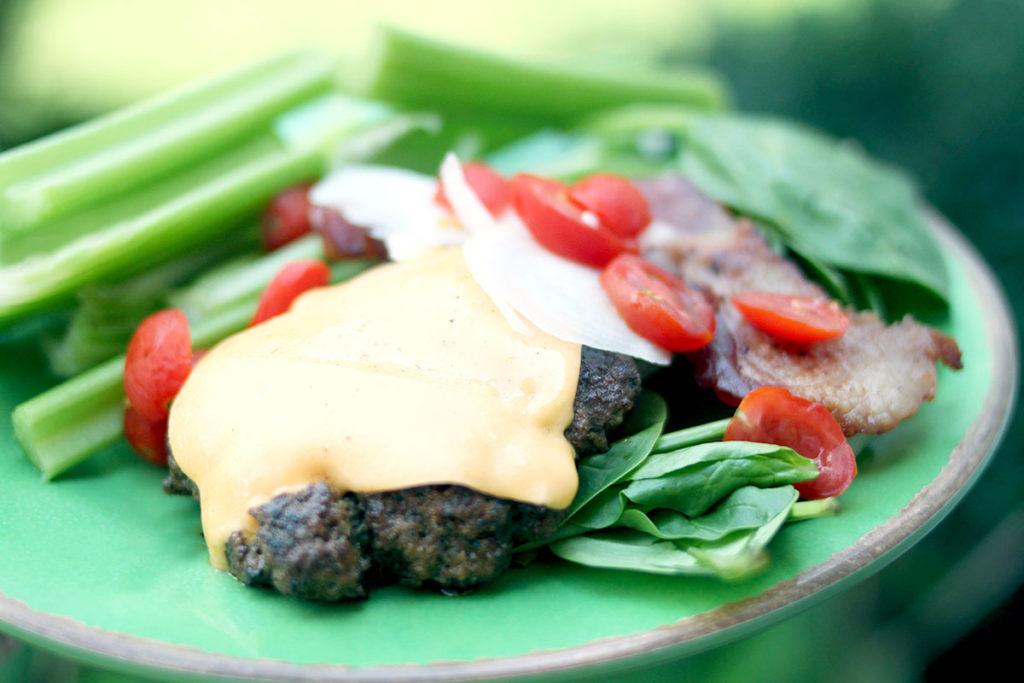 Bunless burger - Keto Friendly burger with spinach wrap - MidKid Mama Blog - Making Keto Easy