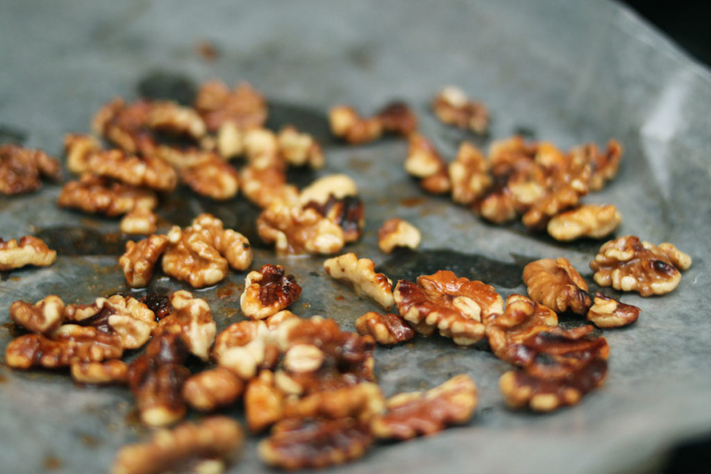 Toasting Walnuts - Cooling on Wax Paper