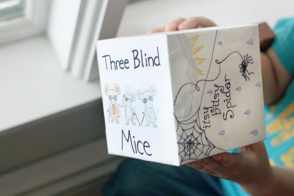 Nursery Rhyme Cube Game - School Ideas for Preschool and Kindergarten class rooms or home school activities - MidKid Mama Blog