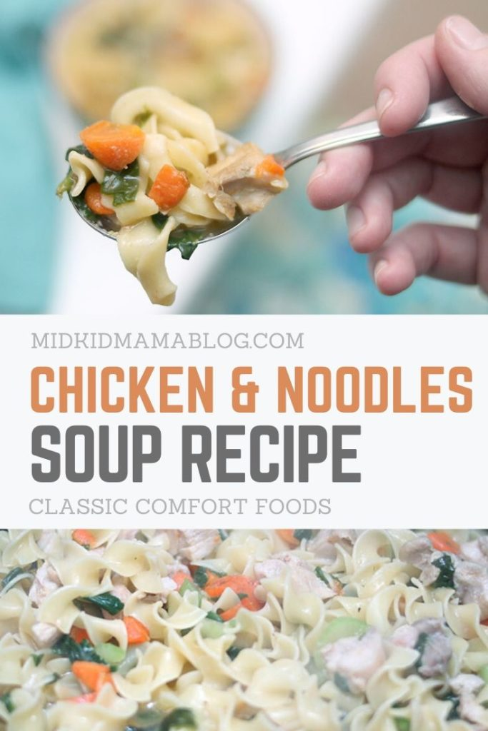 pin this recipe for later - hearty chicken and noodles soup recipe for the family