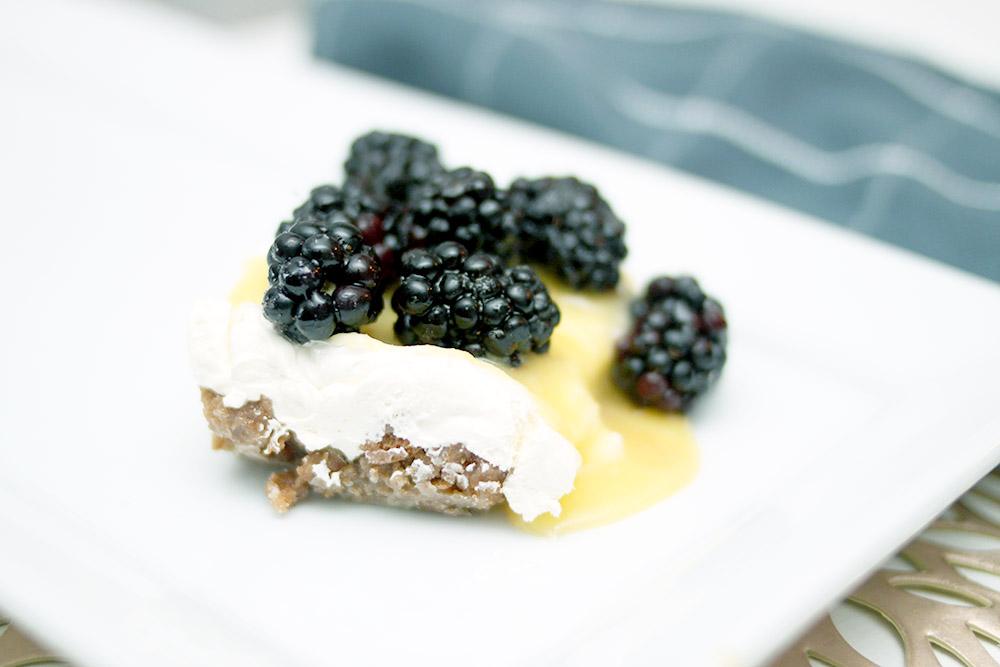 Blackberry Lemon Gingersnap cheesecake dessert recipe for the holidays