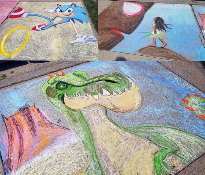 moana gigantosaurus sonic chalk walk squares art