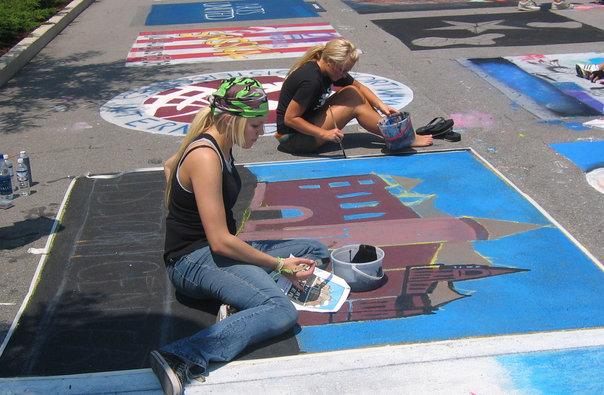 History Center chalk walk art project