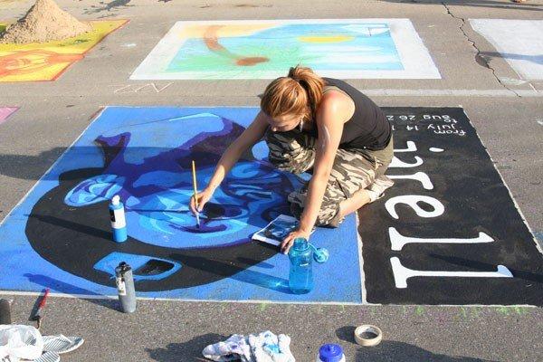 Chalk walk art memory RIP artwork portrait
