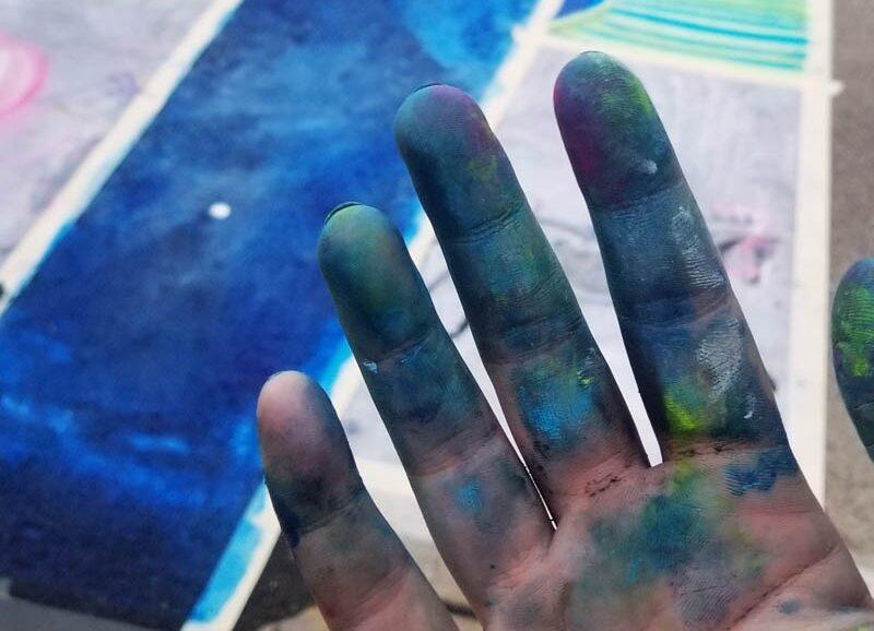 Chalkwalk art pastel dirty fingers sidewalk street art