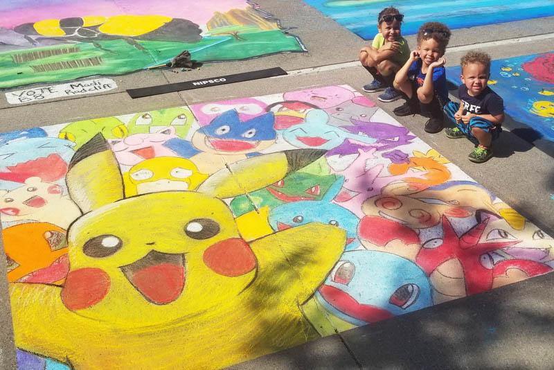Pokemon chalk walk art pastels fanart charmander psyduck wobbeffet squirtle bulbasaur munchlax