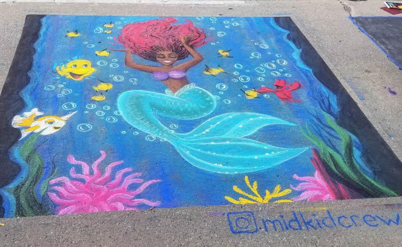 Little Mermaid Ariel live action Halle Bailey Disney art fanart chalk walk street art Flounder Sebastian