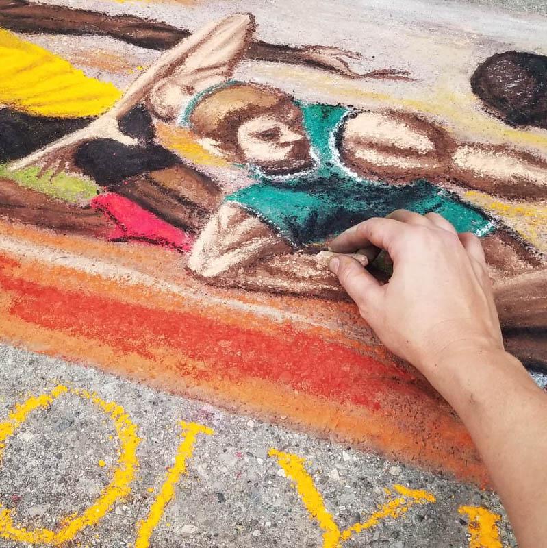 chalk walk 2020 olympics summer sprint marathon baton pass athletes street art illustration
