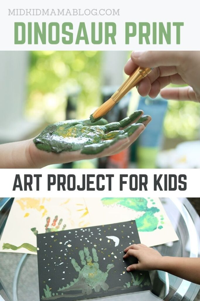 Preschool art project dinosaur handprint educational project for toddlers and kids